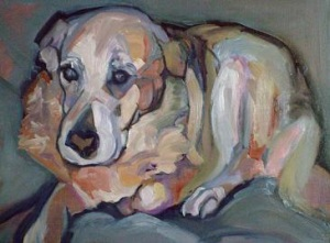 yellow lab mix dog painting